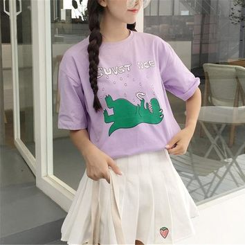 Tops and Tees T-Shirt Lavender Color T Shirt Denture Dinosaurs Kawaii Girls Top Tees Classic Casual Tee Female Loose T-shirt Chill Simple Streetwear AT_60_4 AT_60_4