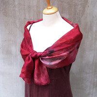 Blood Silk Scarf Hand painted Red tone