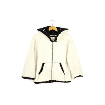 ivory shearling hoodie - aiko marpessa  NWT - black & white - faux suede leather - fleece jacket - womens large