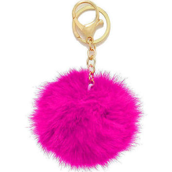 Hot Pink Small Rabbit Fur Pom Keychain