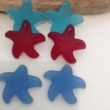 Sea Glass Starfish- New Front drilled, Sea glass, Seaglass, beach glass, star fish beads, supplies, jewelry, beach jewelry,Lot Sea glass