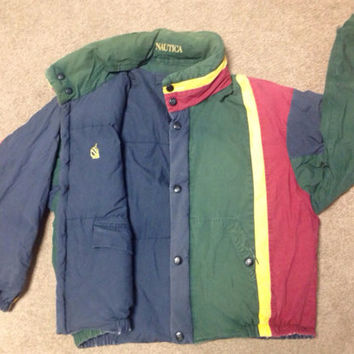 RARE Nautica Reversible Jacket/Puffy Coat Mens Duck Down/Feather Mens Size Medium vintage