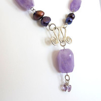 Lavender amethyst tribal necklace