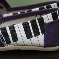 Piano and Music Staff Custom Painted Canvas Shoes