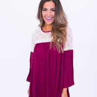 Crochet Top/Bell Sleeve Dress - Plum