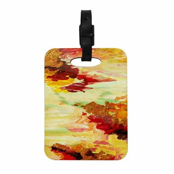 "Ebi Emporium ""On Cloud Nine - 5"" Yellow Brown Decorative Luggage Tag"