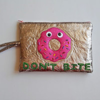 Kawaii Donut  Personalized Bag,Personalized Makeup Bag,Customized Cosmetic Bag, Personalized Clutch,Name Bag,FREE SHIPPING