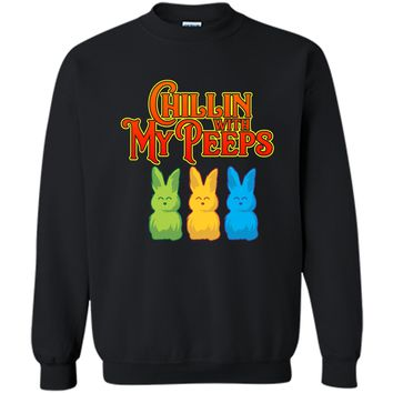 Chilling With My Peeps T-shirt Cool Easter Bunny Rabbit Tee Printed Crewneck Pullover Sweatshirt 8 oz