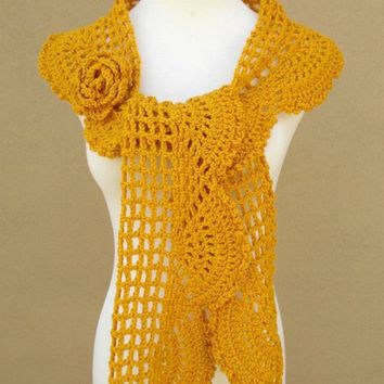 Collette Scarf ShawlGold by gsakowskidesigns on Etsy