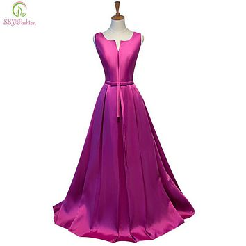 SSYFashion Simple Thick Satin Sleeveless Floor-length Long Evening Dress Bridal Banquet Formal Dresses Custom Made Party Gown