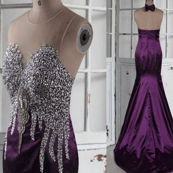 Long Purple Stunning Beaded Crystal Prom Dresses,Backless Mermaid Evening Dresses,Satin Custom Made Formal Party Homecoming Dresses
