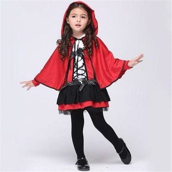 CREY6F Free shipping girls little red riding hood cosplay costume Dresses and  Cloak Halloween costume for children
