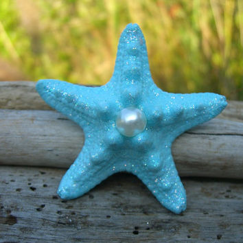 Starfish Hair Clip or Barrette-MERMAID TREASURE-Beach Weddings, Mermaid, Nautical Wedding, Photo Prop, Summer Vacation, Little Mermaid