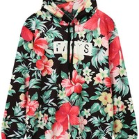 Floral Front Pocket Outerwear Hoodie