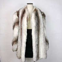 Vintage Plus Size Faux Fur Coat Hidden Clasp Closure Boxy Shoulder White Brown Gray Stipe Extra Large 1X 2X Warm Winter Coat Trendy Fashion