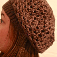 Brown Crochet Slouch Beanie by p4pministry on Etsy