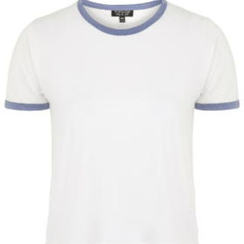 Contrast Trim Tee - White