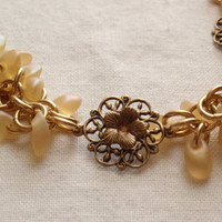 Shaggy Loops Bracelet Gold Yellow Brass Flowers Chain Maille