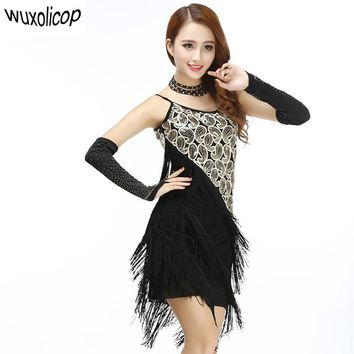 Sexy Women Paisley Art Sequin Tassel Glam Party Great Gatsby Dress Latin Tango Ballroom Salsa Dance Dress
