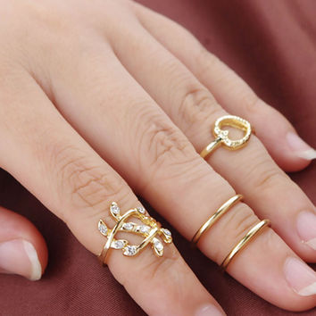 Fashion Diamond Leaves Heart Circle Four Sets of Rings For Women