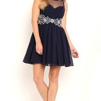 Short Homecoming Dress with Illusion Mesh Neckline and Back