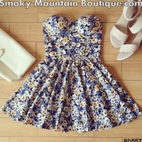 Sissy Floral Retro Bustier Dress with Adjustable Straps