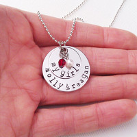 My Girls Necklace, Personalized Family Necklace with Kids Names and Birthstones, Custom Necklace for Mom of Girls, Family Necklace, Daughter