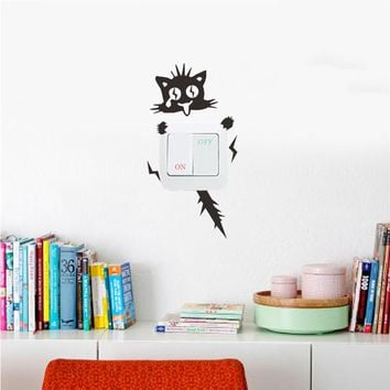 Funny Electric Shock Cat Wall Sticker Switch Kitchen Cabinet Car Door Decals Glass Stickers Decal Home Decoration