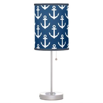 Nautical navy blue boat anchor pattern table lamp