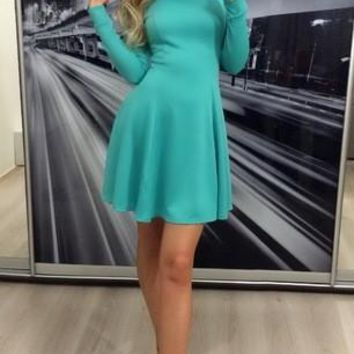 Green Plain Peter Pan Collar Long Sleeve Mini Dress