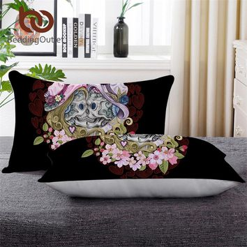 BeddingOutlet Skull Couples Sleeping Down Alternative Pillow Gothic Throw Body Pillow Pink Flowers Red Hearts Adult Bedding 1pc
