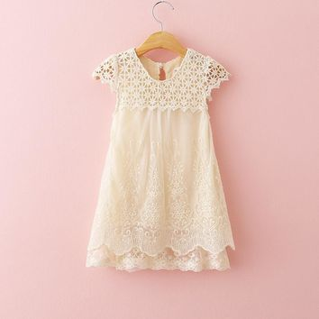 Vintage Lace Cream Embroidered Dress