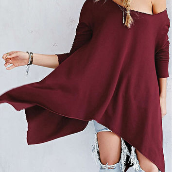Wine Red Long Sleeve Asymmetrical T-shirt