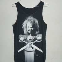 Unisex Tank top size M Black singlet Chucky doll tank top men women singlet sleeveless Long shirt