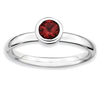 Sterling Silver & Garnet Stackable Low Profile 5mm Solitaire Ring
