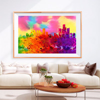 XL Poster Detroit City Skyline Art Abstract Print Photo Paper Watercolor paint Wall Decor Home (frame is not included) FREE Shipping USA !