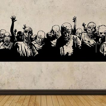 Zombie Coming Poster Wall Sticker The Walking Dead Vinyl Decal Dorm Teen Room Art Decor Giant TV Mural H55cm x W182cm