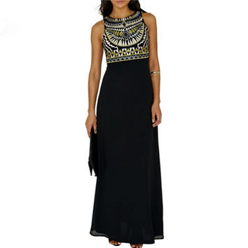 Tribal Print Chiffon Long Dress