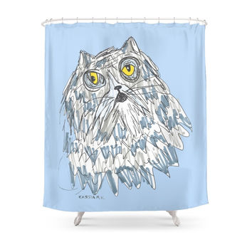 Society6 Grouchy Cat Master 3000 Shower Curtain