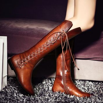 Gradient Lace-Up Tall Boots