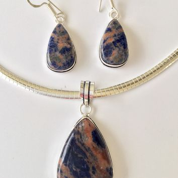 Sodalite sterling silver pendant and earrings set