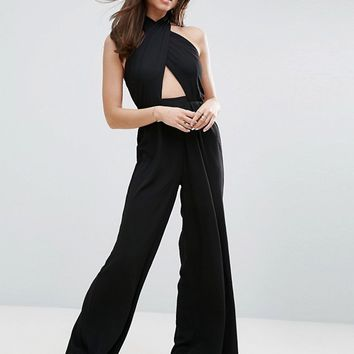 ASOS Jumpsuit with Cross Front and Super Wide Leg at asos.com