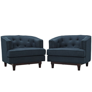 Modway Coast Arm Chair in Tufted Azure Fabric on Walnut Stained Legs (set of 2)