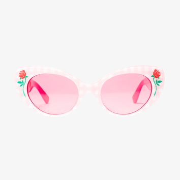 Barbara Sunglasses In Pink Gingham