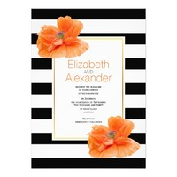 Coral poppies, black white stripes floral wedding 5x7 paper invitation card