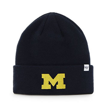 NCAA Michigan Wolverines '47 Raised Cuff Knit Hat, Navy, One Size