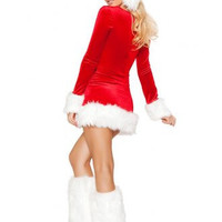 Long Red Sleeve christmas Dress