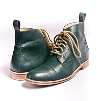 Unisex emerald green leather bespoke oxford boots FREE WORLDWIDE SHIPPING