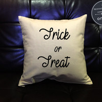 Halloween pillow cover, Trick or Treat, Halloween Decor, Halloween Throw Pillow cover, pumpkin pillow cover cotton canvas pillow cover
