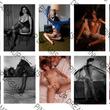 Beautiful Set of 10 Vintage 6 x 4 Photograph re-prints of Pin-ups and Burlesque Artists from the past. Set Number 10 (Get Any 4 For 3)